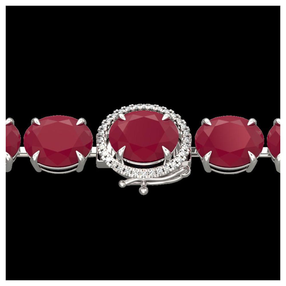 75 ctw Ruby & VS/SI Diamond Bracelet 14K White Gold - REF-457K8W - SKU:22275