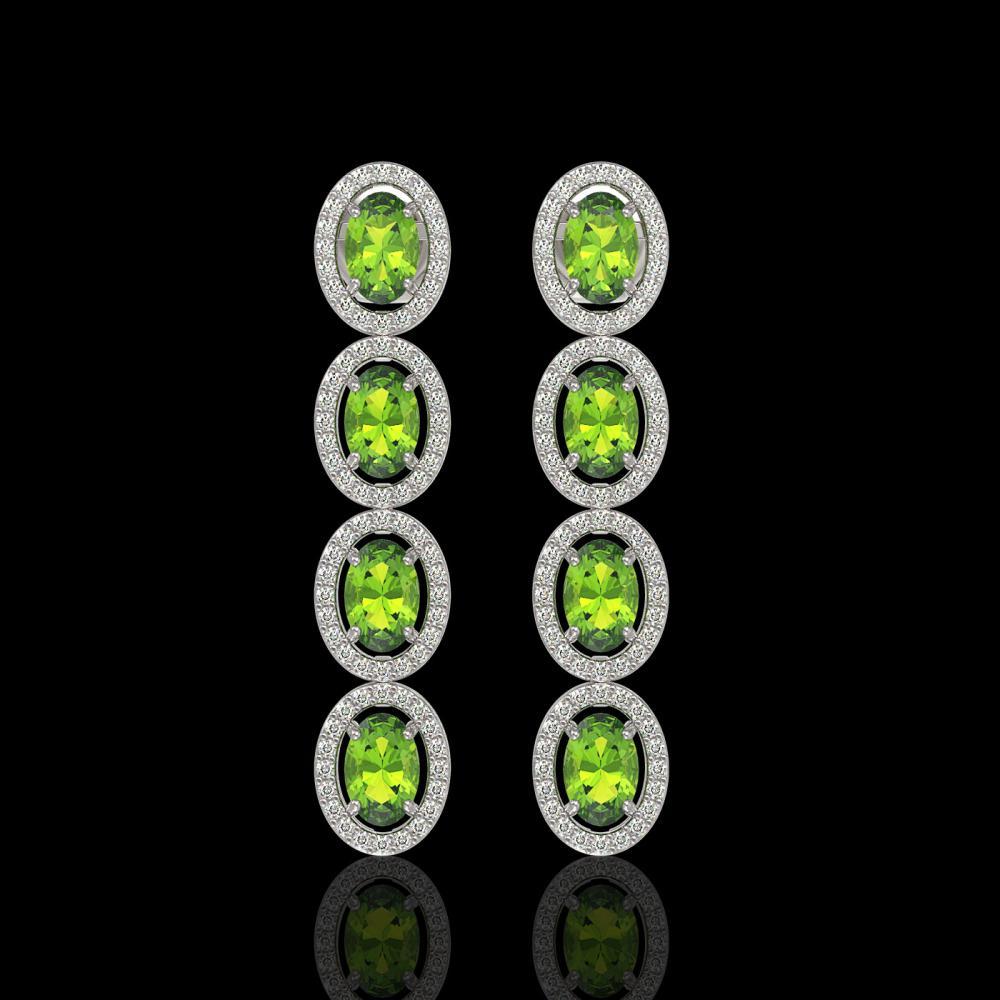 5.88 ctw Peridot & Diamond Halo Earrings 10K White Gold - REF-125R5K - SKU:40529