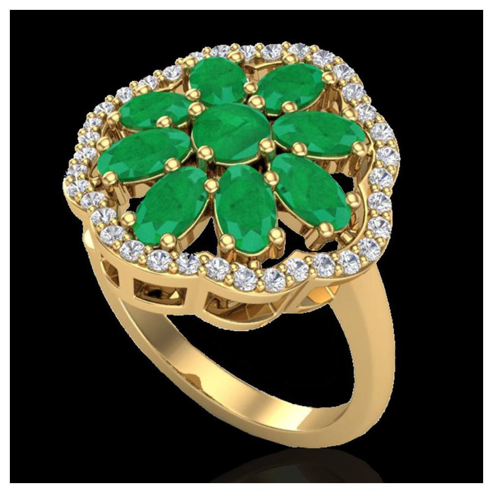 4 ctw Emerald & VS/SI Diamond Cluster Ring 10K Yellow Gold - REF-63N6A - SKU:20780