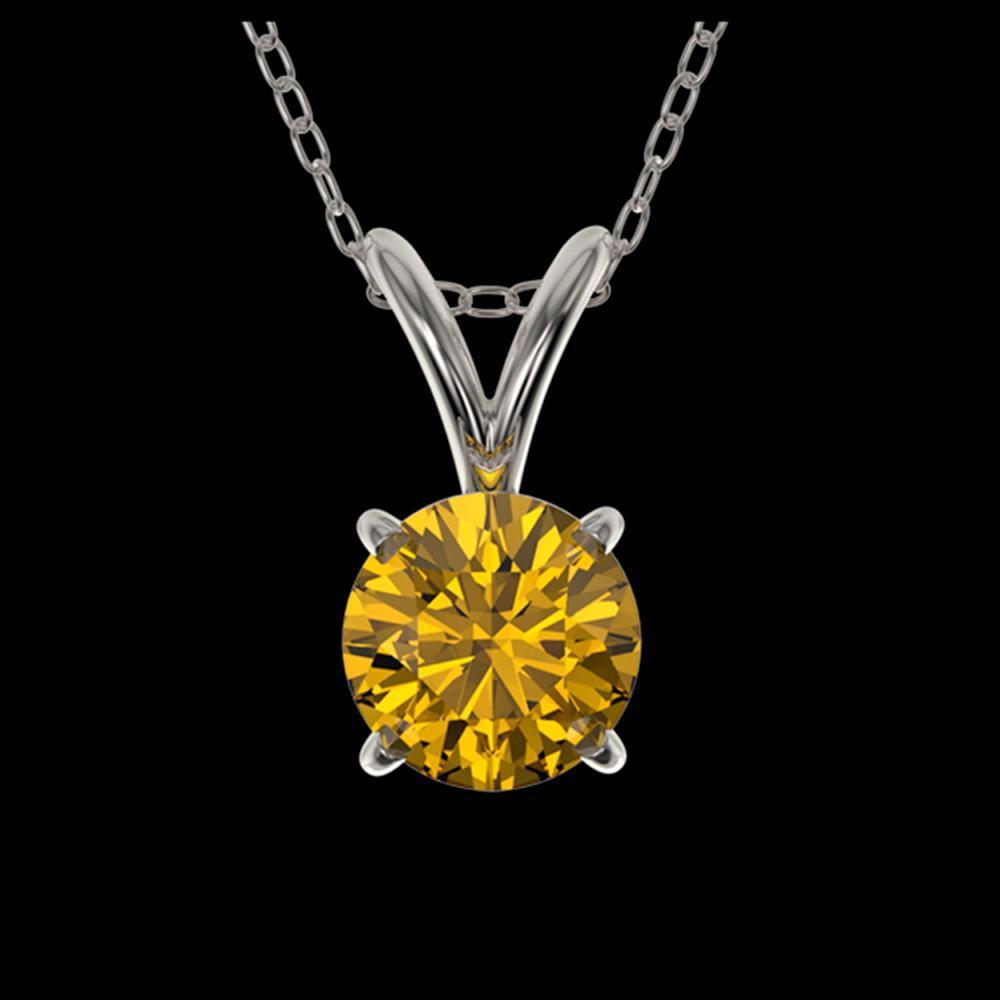 0.53 ctw Intense Yellow Diamond Necklace 10K White Gold - REF-70A5V - SKU:36732