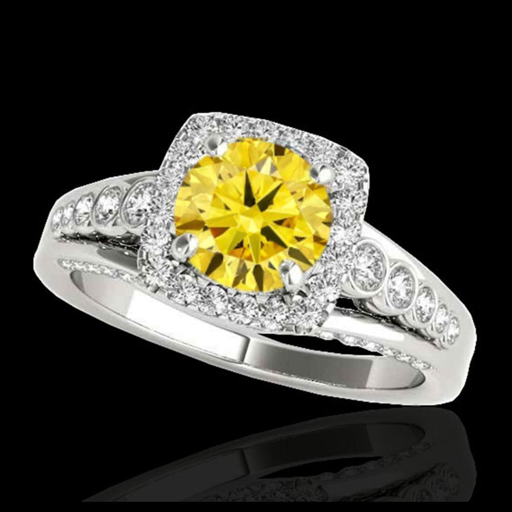 1.75 ctw SI/I Fancy Intense Yellow Diamond Ring 10K White Gold - REF-145H9M - SKU:34317