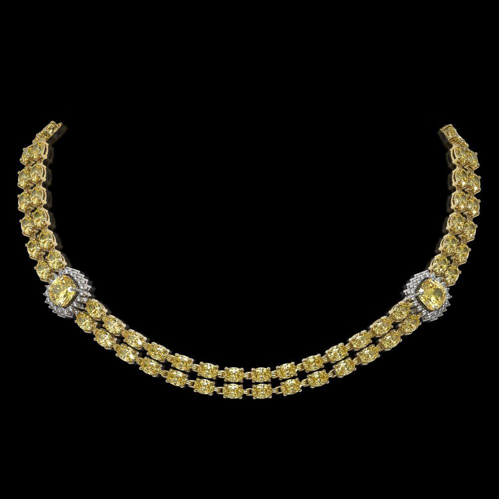 31.61 ctw Citrine & Diamond Necklace 14K Yellow Gold - REF-376M9F - SKU:44725