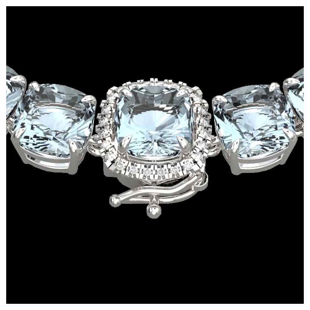 87 ctw Aquamarine & Diamond Eternity Necklace 14K White Gold - REF-726V9Y - SKU:23336
