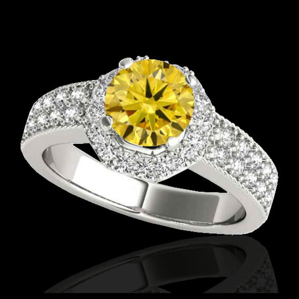 1.40 ctw SI/I Fancy Intense Yellow Diamond Ring 10K White Gold - REF-204R5K - SKU:34556