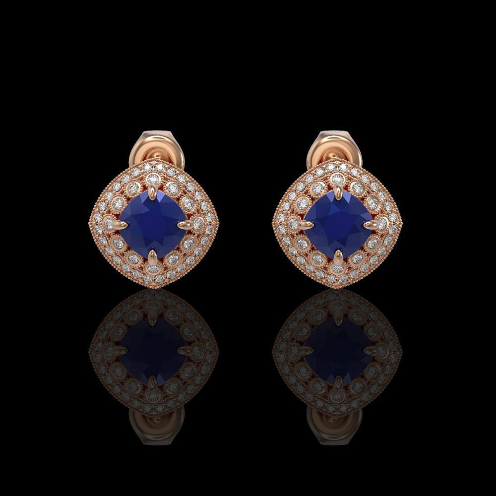 4.99 ctw Sapphire & Diamond Earrings 14K Rose Gold - REF-117N3A - SKU:44127