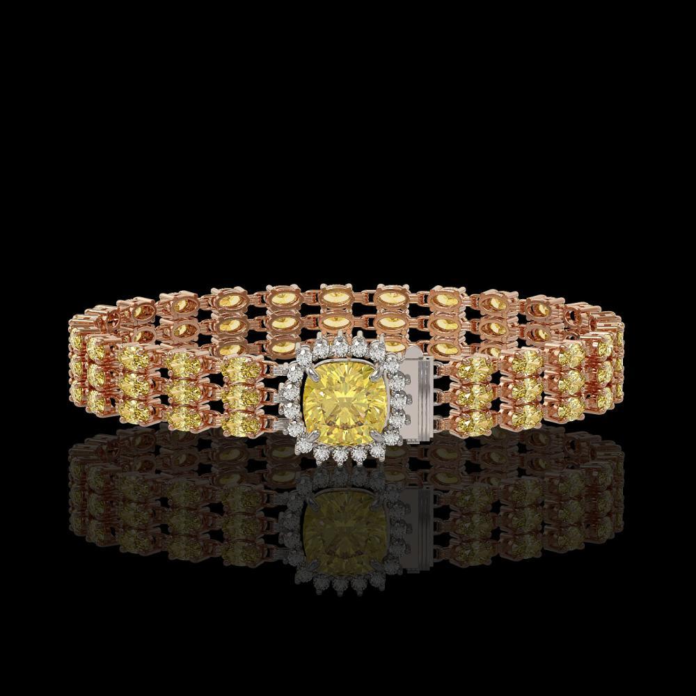 25.15 ctw Citrine & Diamond Bracelet 14K Rose Gold - REF-242A5V - SKU:45921