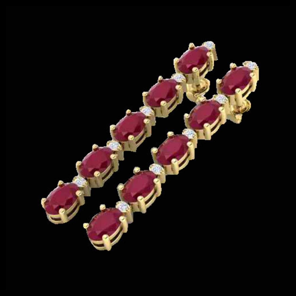 12.36 ctw Ruby & VS/SI Diamond Tennis Earrings 10K Yellow Gold - REF-89H3M - SKU:29404