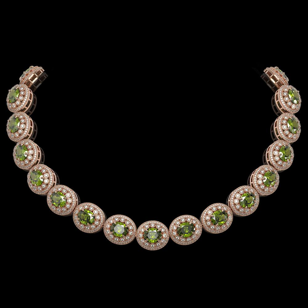 99.35 ctw Tourmaline & Diamond Necklace 14K Rose Gold - REF-2947H8M - SKU:43704