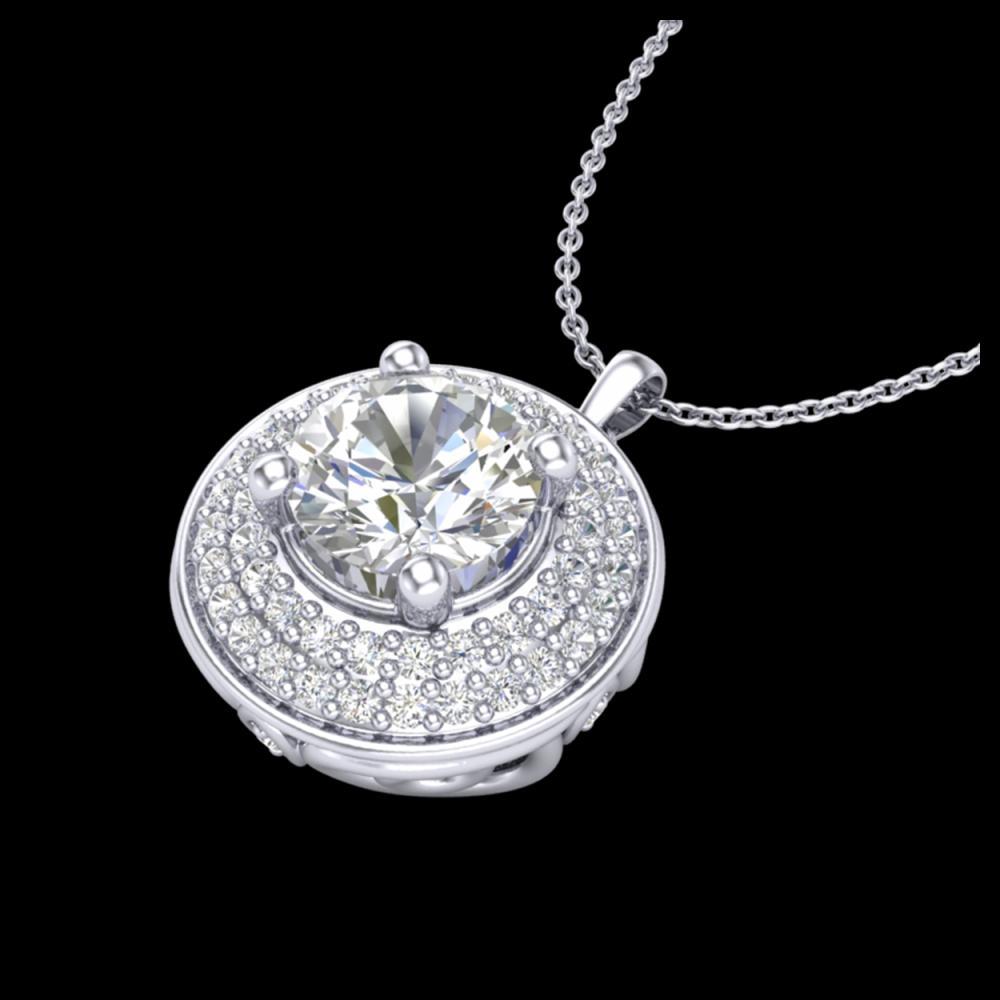 1.25 ctw VS/SI Diamond Solitaire Art Deco Necklace 18K White Gold - REF-272N7A - SKU:37259