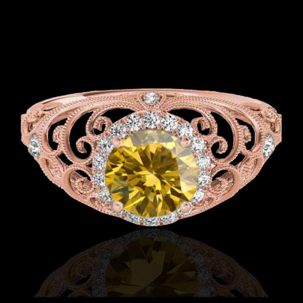 1.22 ctw SI/I Fancy Intense Yellow Diamond Ring 10K Rose Gold - REF-177M3F - SKU:33786