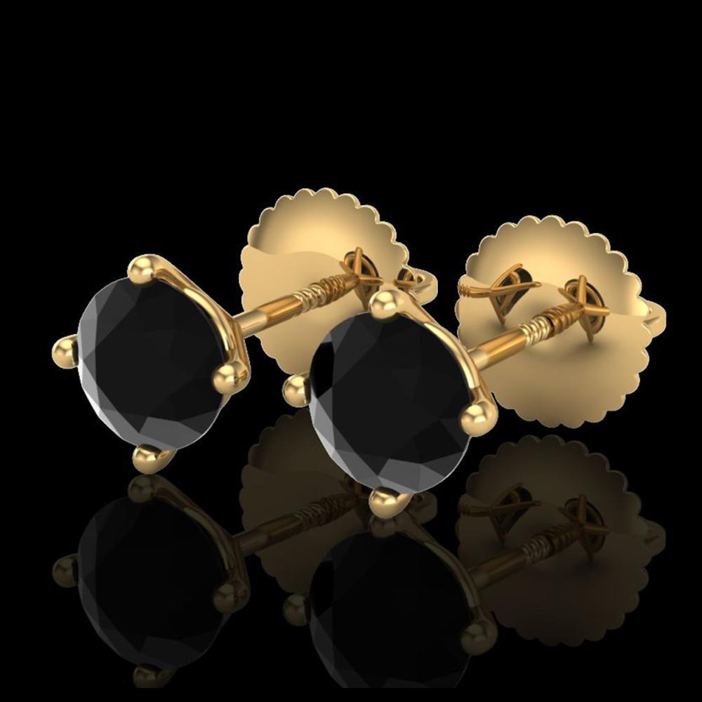 1.01 ctw Fancy Black Diamond Art Deco Stud Earrings 18K Yellow Gold - REF-40A2V - SKU:38229