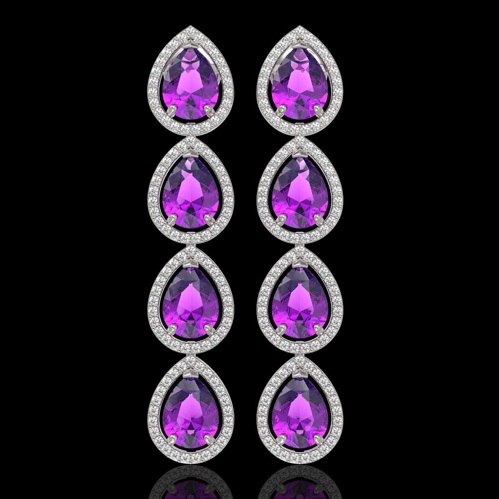 10.85 ctw Amethyst & Diamond Halo Earrings 10K White Gold - REF-172M7F - SKU:41321