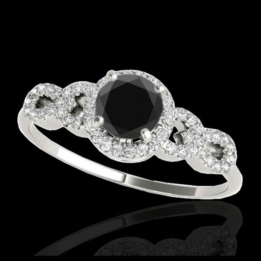 1.33 ctw VS Black Diamond Solitaire Ring 10K White Gold - REF-53F2N - SKU:35316