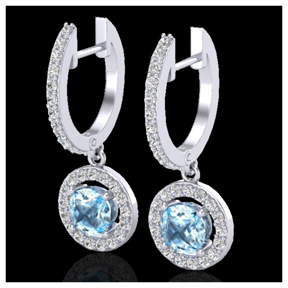 1.75 ctw Sky Topaz & VS/SI Diamond Earrings 18K White Gold - REF-82W7H - SKU:23259