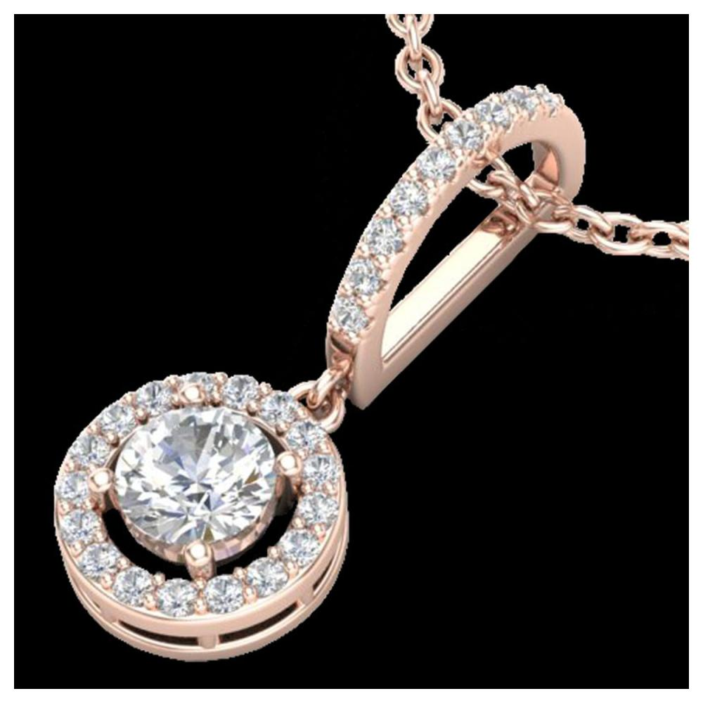 0.90 ctw Halo VS/SI Diamond Necklace 14K Rose Gold - REF-109M3F - SKU:23271
