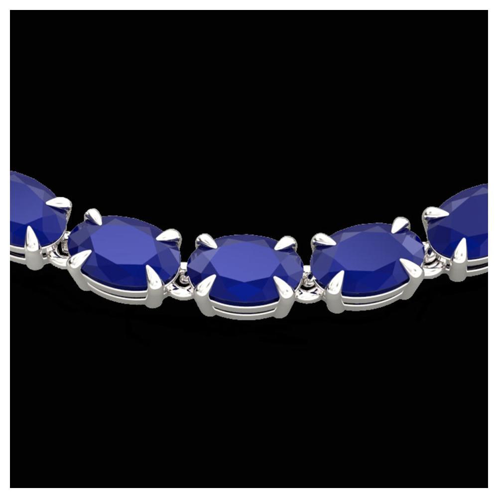 40 ctw Sapphire Eternity Tennis Necklace 14K White Gold - REF-218X2R - SKU:23375