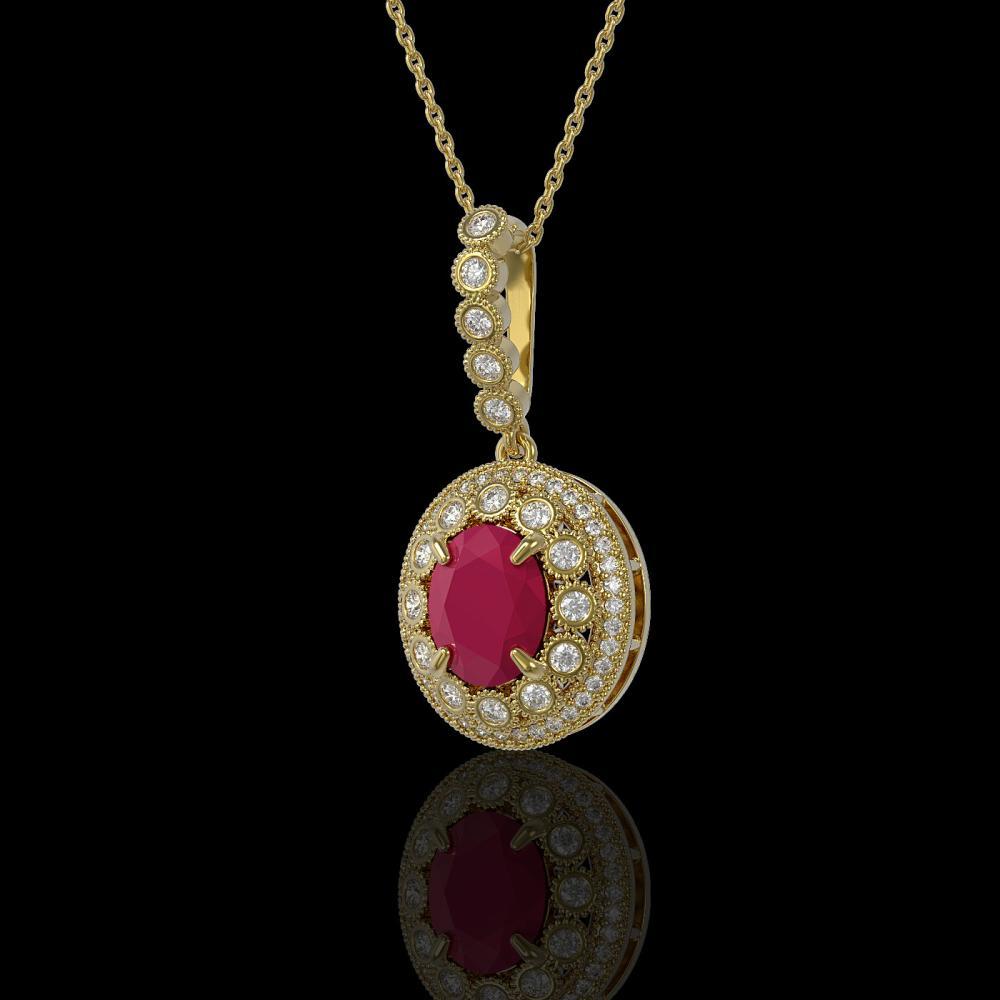 4.67 ctw Ruby & Diamond Necklace 14K Yellow Gold - REF-136A5V - SKU:43660