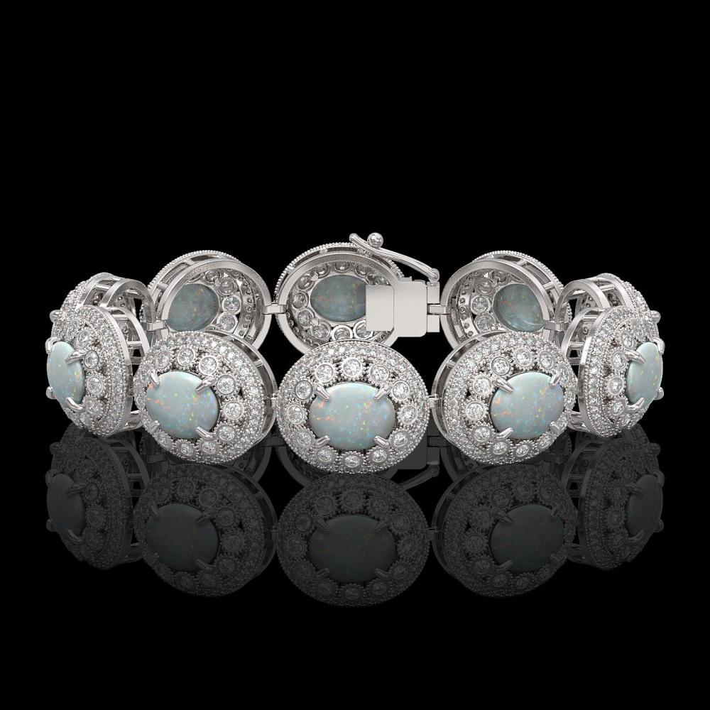 40.37 ctw Opal & Diamond Bracelet 14K White Gold - REF-1402M4F - SKU:43727