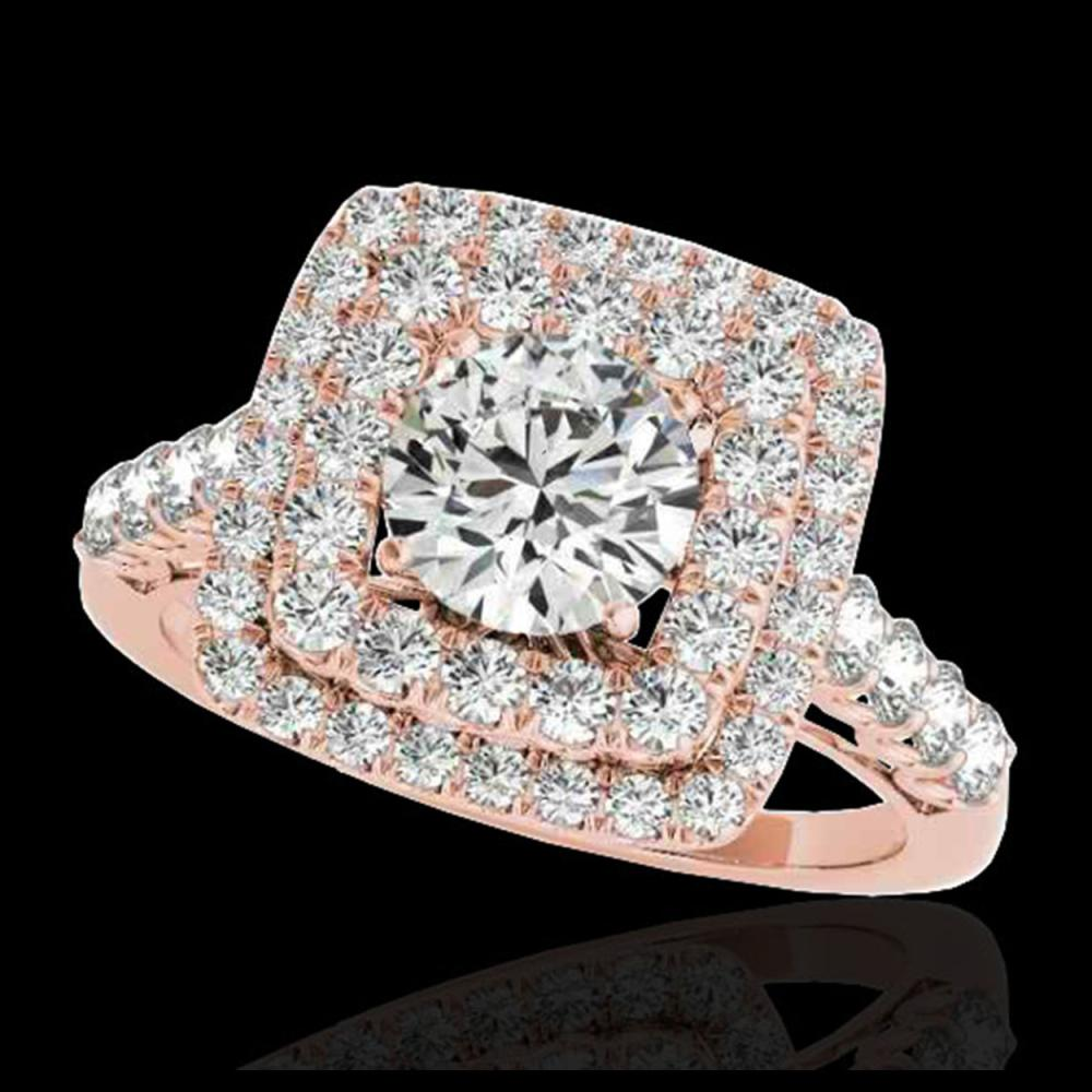 2.05 ctw H-SI/I Diamond Solitaire Halo Ring 10K Rose Gold - REF-169R3K - SKU:34586