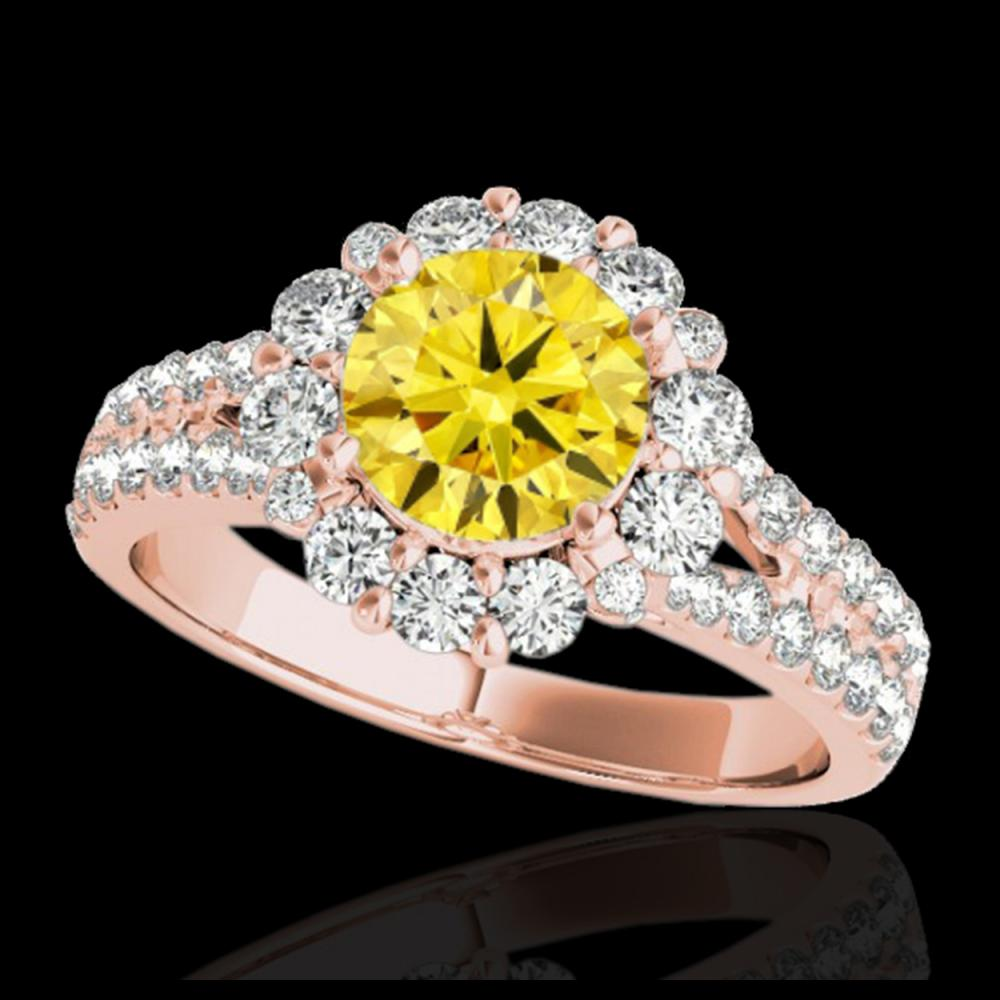2.01 ctw SI/I Fancy Intense Yellow Diamond Ring 10K Rose Gold - REF-225K2W - SKU:33939
