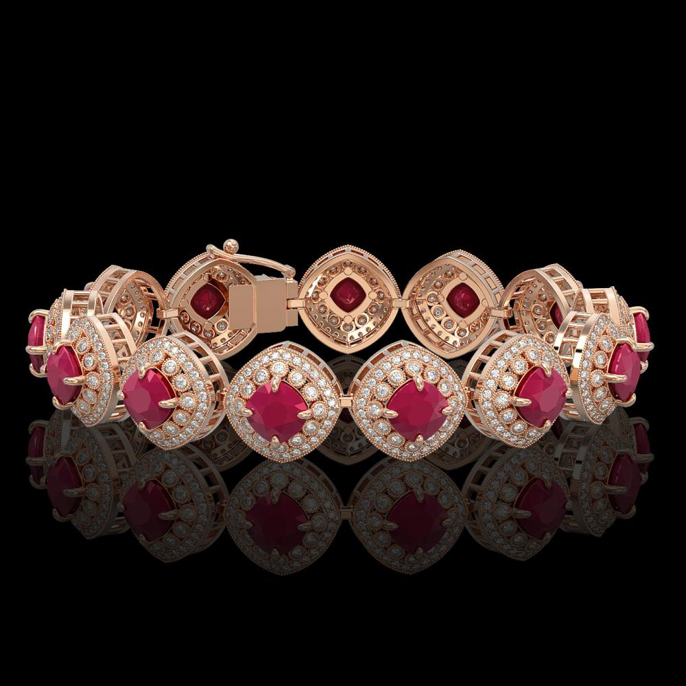 37.35 ctw Ruby & Diamond Bracelet 14K Rose Gold - REF-928A2V - SKU:44148