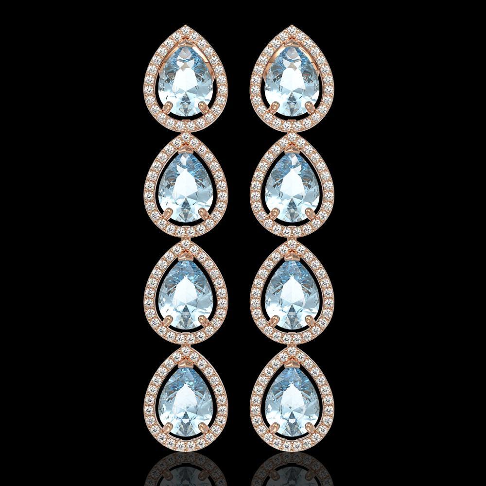 10.56 ctw Aquamarine & Diamond Halo Earrings 10K Rose Gold - REF-228H7M - SKU:41307
