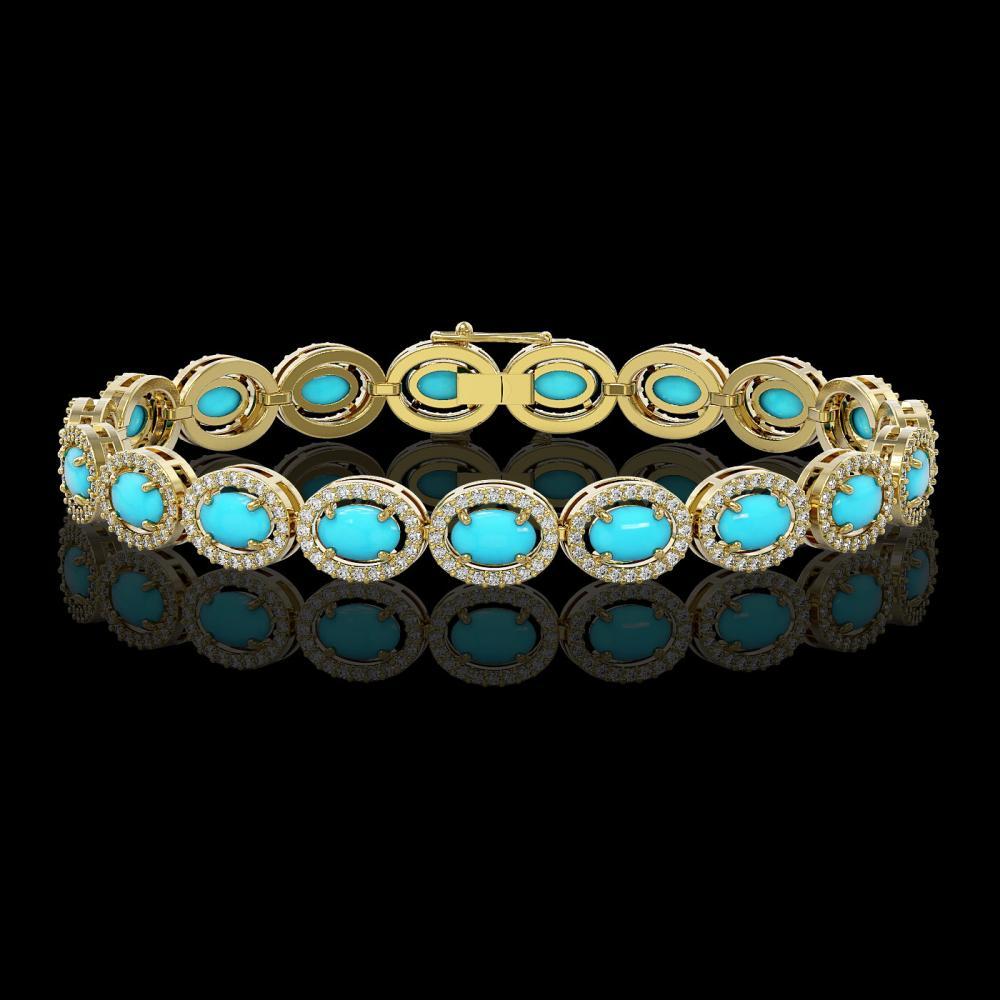 11.40 ctw Turquoise & Diamond Halo Bracelet 10K Yellow Gold - REF-227H8M - SKU:46000