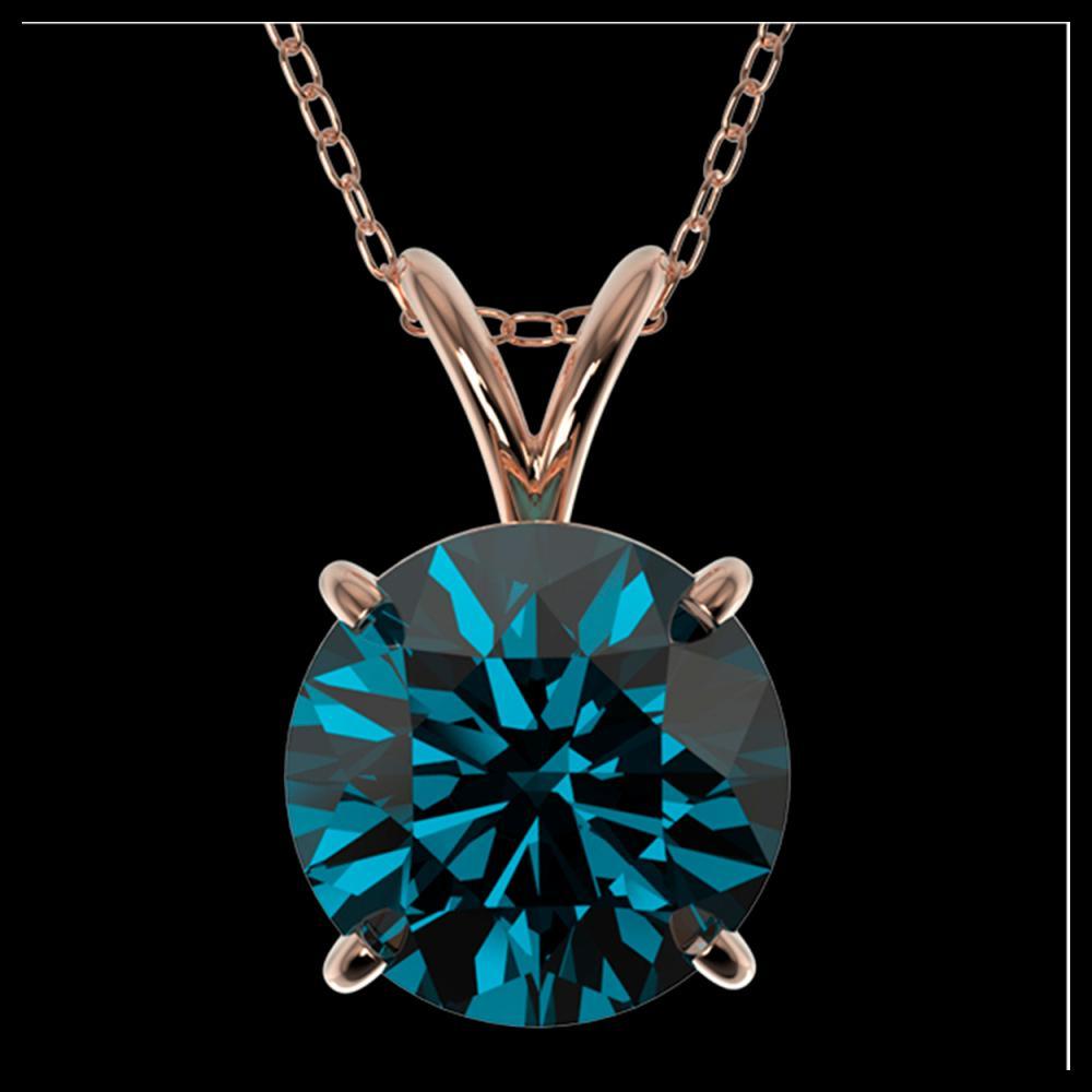 2.04 ctw Intense Blue Diamond Necklace 10K Rose Gold - REF-343A2V - SKU:36815