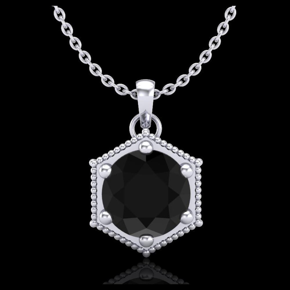 0.82 ctw Fancy Black Diamond Art Deco Stud Necklace 18K White Gold - REF-54A5V - SKU:38045