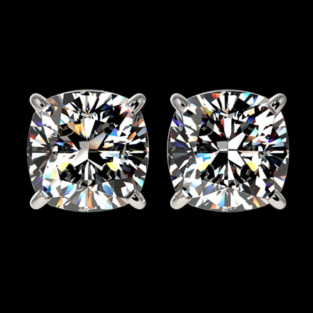 2.50 ctw VS/SI Cushion Diamond Stud Earrings 10K White Gold - REF-735H2M - SKU:33117