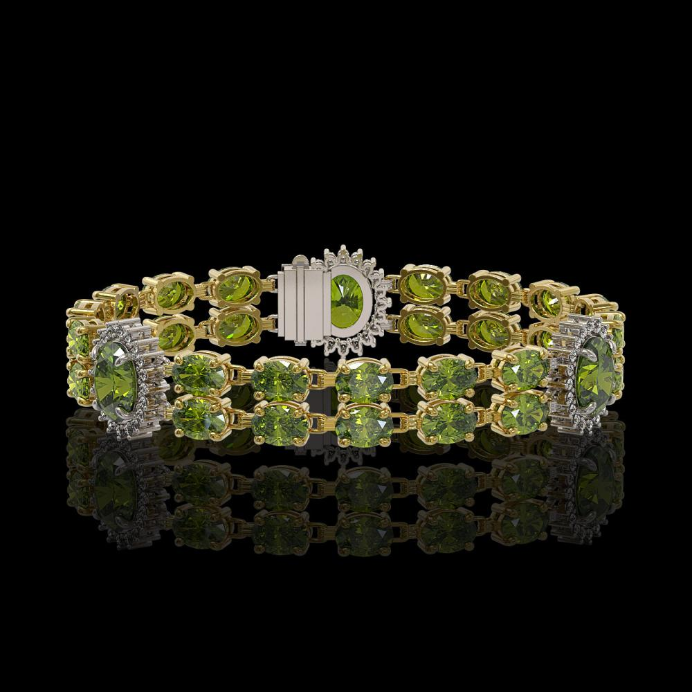 17.79 ctw Tourmaline & Diamond Bracelet 14K Yellow Gold - REF-212V3Y - SKU:44248