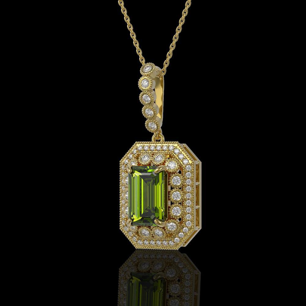6.7 ctw Tourmaline & Diamond Necklace 14K Yellow Gold - REF-193V3Y - SKU:43456