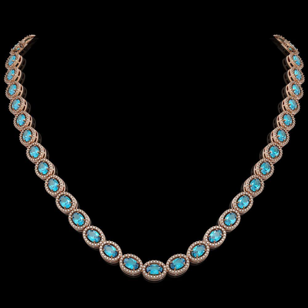 33.25 ctw Swiss Topaz & Diamond Halo Necklace 10K Rose Gold - REF-506W4H - SKU:40434