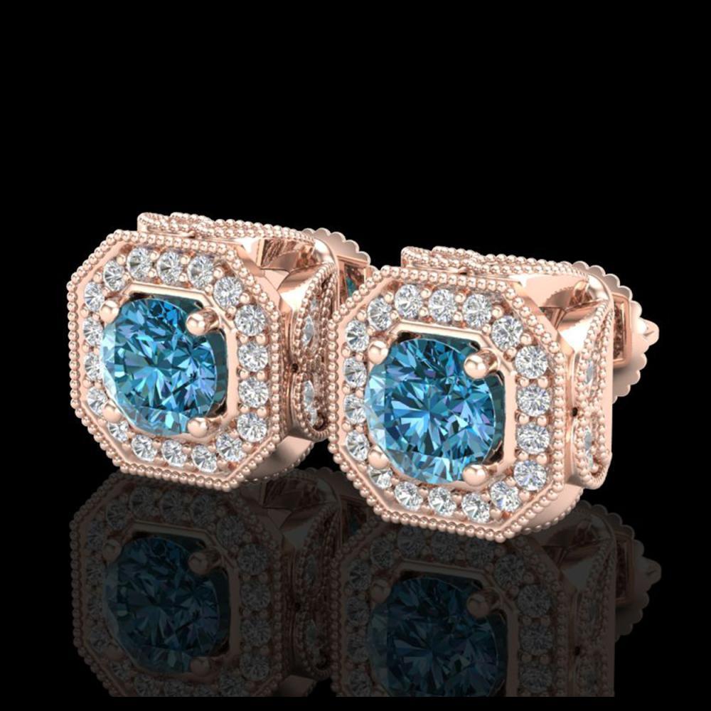 2.75 ctw Fancy Intense Blue Diamond Art Deco Earrings 18K Rose Gold - REF-290N9A - SKU:38287