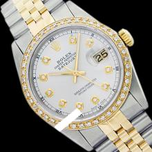 Rolex Ladies Two Tone 14K Gold/SS, Diamond Dial & Diamond Bezel, Saph Crystal - REF-363F3M