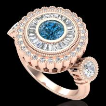 2.62 CTW Intense Blue Diamond Solitaire Art Deco 3 Stone Ring 18K Gold - 37923-REF-290N9Y