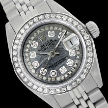 Rolex Men's Stainless Steel, QuickSet, Diamond Dial & Diamond Bezel - REF-474A5N