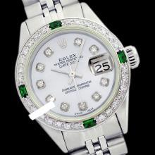 Rolex Men's Stainless Steel, QuickSet, Diam Dial & Diam/Emerald Bezel - REF-441X8A