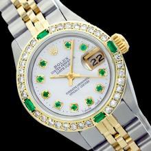 Rolex Men's Two Tone 14K Gold/SS, QuickSet, Diam/Emerald Dial & Diam/Emerald Bezel - REF-480F2M