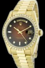 Rolex Men's 18K Yellow President, QuickSet, Diamond Dial & Diamond Bezel - REF-1232N7F