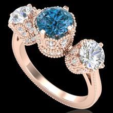 3.06 CTW Fancy Intense Blue Diamond Art Deco 3 Stone Ring 18K Gold - 37391-REF-390H9Z