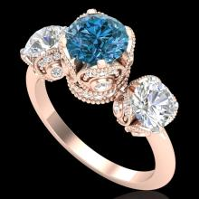 3 CTW Fancy Intense Blue Diamond Solitaire Art Deco 3 Stone Ring 18K Gold - 37433-REF-418M2R
