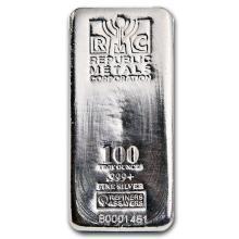 One piece 100 oz 0.999 Fine Silver Bar Republic Metals Corporation