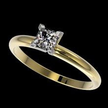 0.50 CTW Certified VS/SI Quality Princess Diamond Solitaire Ring Gold - 32870-REF-77Z6K