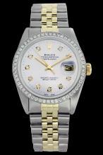 Rolex Men's Two Tone 14K Gold/SS, QuickSet, Diamond Dial & Diamond Bezel - REF-557N3A