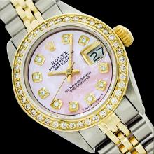 Rolex Men's Two Tone 14K Gold/SS, QuickSet, Diamond Dial, Diam/Ruby Bezel - REF-539H2W