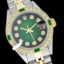 Rolex Men's Two Tone 14K Gold/SS, QuickSet, Diam Dial & Diam/Emerald Bezel - REF-557X2Y