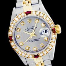 Rolex Men's Two Tone 14K Gold/SS, QuickSet, Diam Dial & Diam/Ruby Bezel - REF-557K5T