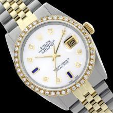 Rolex Ladies Two Tone 14K Gold/SS, Diam Dial & Diam/Sapphire Bezel, Sapphire Crystal - REF-440W4H