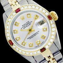 Rolex Ladies Two Tone 14K Gold/SS, Diam Dial & Diam/Ruby Bezel, Sapphire Crystal - REF-434M3F